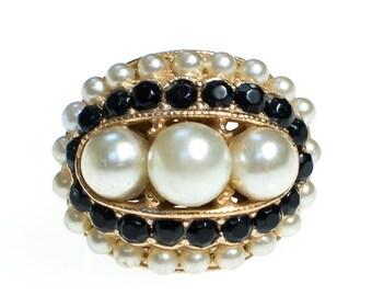 Vintage Pearl and Black Rhinestone Statement Ring Gold Tone Adjustable
