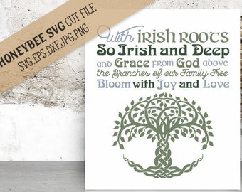 With Irish Roots svg eps dxf jpg png cut file for Silhouette and Cricut type craft machines