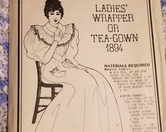 1894 ladies wrapper or tea gown, Past Patterns