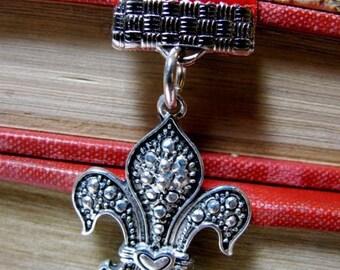 Bookmark, Red Velvet with Fleur De Lis & Heart Charms