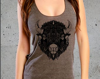 BUFFALO BISON Head Shirt Tank Top, Native American Clothing Graphic Tees For Women, Racer Back Tank Top American Apparel Tri-Blend Tee S M L