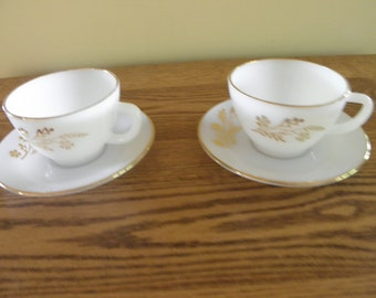 Federal Glass Golden Berry Cups and Saucers (set of 2)