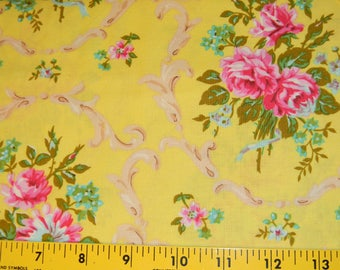 Good Company Cotton Fabric in Yellow with Pink Nosegay Half Yard