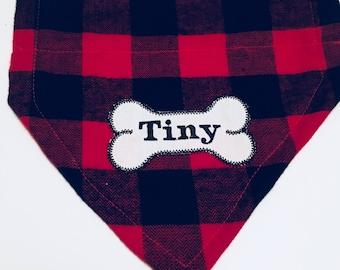 Red plaid, Dog Bandana, Buffalo Plaid, Bone, Over the Collar,  Dog gift, puppy gift, monogram dog scarf, dog lovers gift, photo shoot