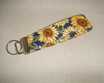 Key Fob wristlet - Sunflowers navy blue background
