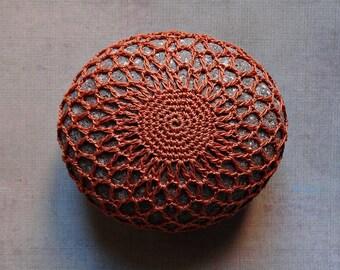 Home, Crochet Lace Stone, New Color, Dining, Entertaining, Table Top, Art, Original, Handmade, Nature, Mixed Media, Wedding, Autumn Orange