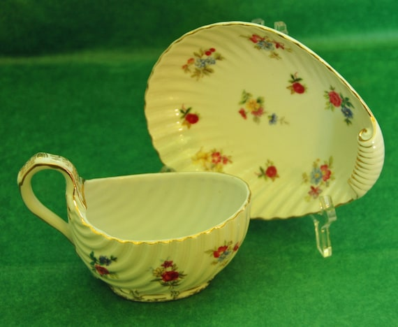 Reduced Price: Antique Small 2 Pc MUSTARD, MAYO, or SAUCEBOAT W/ Separate Stand, Ca Pre 1881, German, Floral & Gold Decor, Mint Condition,