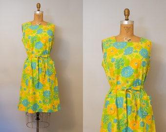 Kew Gardens Dress /  1960s Summer Dress /  60s Cotton Dress