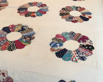 Vintage 30s Dresden Plate Quilt top
