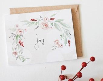 Joy-  christmas - holiday - greeting card