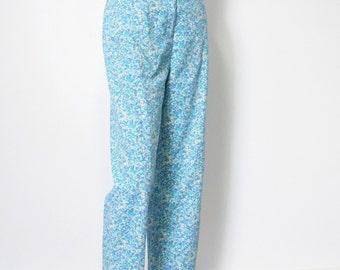 Vintage Pants Women's Blue Floral Summer Pants Cotton Slacks Capri Size 6