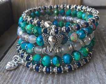 Blue N' Bold Multi Strand Memory Wire Bracelet With Elephant Charm