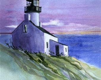 Old Point Loma Lighthouse Watercolor Print, San Diego, California, Cabrillo National Monument, West Coast