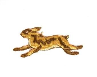 Brown Hare Applique Antique Silk Brown Bunny Applique Vintage Bunny Applique Vintage Hare Patch