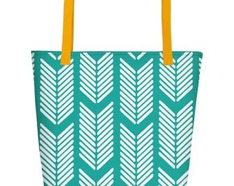 Arrows Beach Tote - Chevron Beach Bag, Chevron Beach Tote, Trendy Beach Bag, Beach Gifts for Women