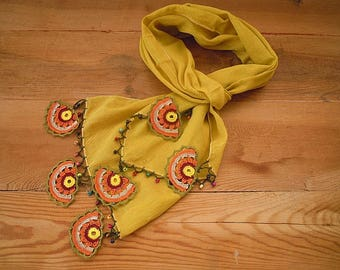 ochre yellow cotton scarf with crochet circles