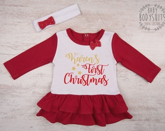 Christmas Baby Dress, My FIRST CHRISTMAS Baby Girl Outfit, Personalized Set of Baby Dress & Baby Headband, Christmas Baby Girl Clothing