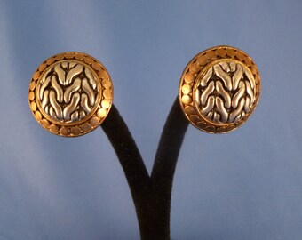 Gold and Silver Roped Clip Earrings