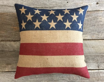 """18""""Patriotic Burlap Pillow Cover ONLY, Flag Pillow, 4th of July Pillow, Stars and Stripes Pillow, Americana Pillow, Memorial Day Pillow"""