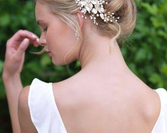 Floral Bridal Hair Comb, Floral Wedding Comb, Floral Hair Comb, Floral Pearl Hair Comb, Wedding Headpiece, Crystal Hair Comb, Bride - 7054