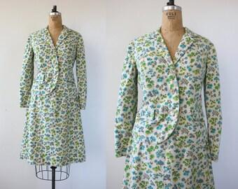 vintage 1950s Suit / 50s Floral Suit / 60s Dress Set / 1960s linen floral spring suit / small floral print suit / Small Medium 27 inch waist