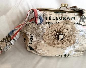 Vintage Style Kisslock Frame Handbag British Flag  Postal Print