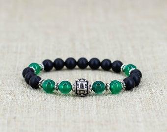 Black onyx bracelet Gemstone bracelet Healing-bracelet Reiki-healing-stone Zodiac-jewelry Zodiac-bracelet Gemini-jewelry Gemini-bracelet-men