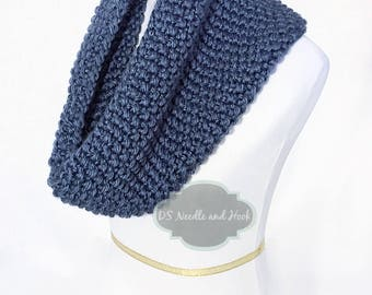 Blue Gray Chunky Knit Scarf, Navy Blue Seed Stitch Cowl, Dark Blue Chunky Neck Warmer, Short Infinity Scarf, Knit Snood