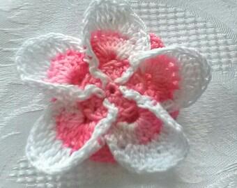 Pink plumeria flower hair clip