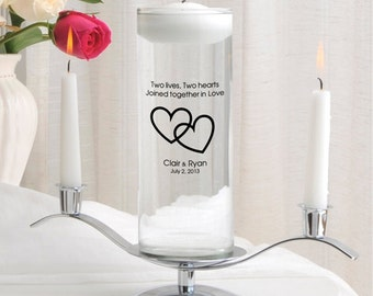 Personalized Floating Wedding Unity Candle Set - Personalized Wedding Candle -  Personalized Unity Candle - Floating Candle - GC377 CP7