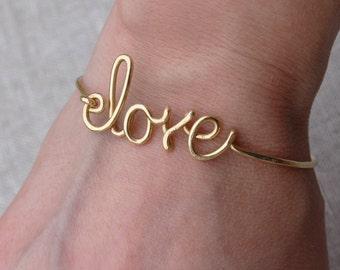 Love Bangle, Gold Brass