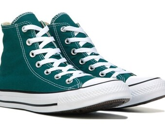 Green Converse High Tops Teal Forest Ladies Mens Custom Bling w/ Swarovski Crystal Rhinestone Wedding Chuck Taylor All Star Sneakers Shoes