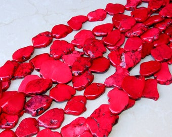 Red Magnesite Slab Stone Beads - Bright Red with Black Veining - Magnesite Slab Strand -  Full Strand - 25mm x 35+mm