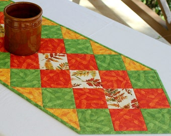 Quilted Fall Table Runner, Green Orange, Autumn Table Topper, Autumn Leaves, Table Quilt, Quiltsy Handmade