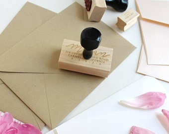 Return Address Stamp / Custom Stamp / Calligraphy Stamp / Handmade Stamp  / Envelope Stamp / Custom Rubber Stamp