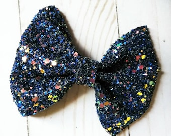 Celenny faux leather bow chunky navy