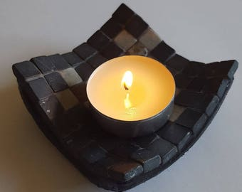 Square candle holder mosaic; mosaic tea light holder marble; candle; candle holder; marble ; romantic; spiritual atmosphere