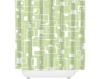 green shower curtain, green bathroom decor modern shower curtain retro shower curtain abstract shower curtain green decor, extra long shower