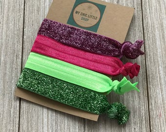 Set of 4 Elastic Hair Ties - Pink and Green Combo