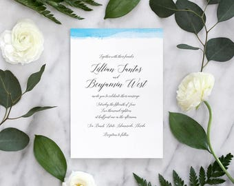 Watercolor Calligraphy Wedding Invitations, Edge-Dipped Wedding Invitation - Deposit Payment
