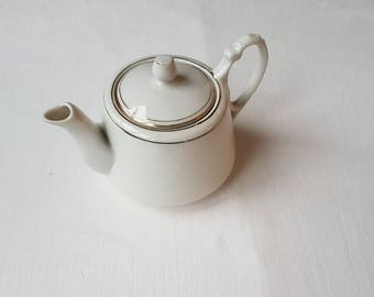 Vintage white teapot  with golden stripe in condition from porcelain / china / faience /ceramic made in Czechoslovakia