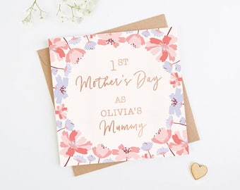 1st Mother's Day Card Personalised Rose Gold