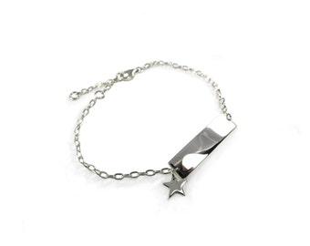 Sterling Silver Star Charm Bracelet, Identity Bracelet ID Design