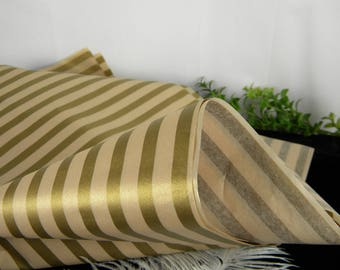Tissue Paper / Gold & Champagne Shimmer Striped Print Tissue Paper Sheets / Champagne Gold Wedding Decor / Luxury Retail Gift Wrap Tissue