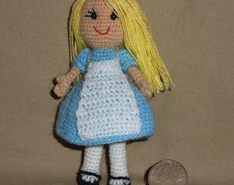 Alice in Wonderland Miniature Doll 5 Inches Tall Thread Crochet