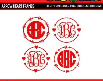 Arrow Monogram SVG Arrow Heart SVG Files for Cricut SVG Files for Silhouette Digital Files Arrow Circle svg Valentines svg dxf png eps files
