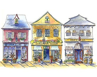 Seaside Village New England Storefronts Print 8x10