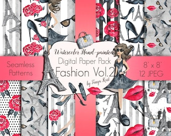 Fashion Digital Paper, Girly Digital Paper, Planner Stickers, Fashion Blog Theme, Cosmetic Digital Paper, Paris Paper Pack, Watercolor Paper