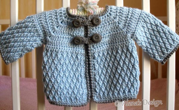 Crochet Pattern 192 - Diamond Baby Jacket 3, 6, 12, 24 months Baby Jacket Toddler Sweater Baby Girl Baby Boy Winter Sweater Cardigan Coat