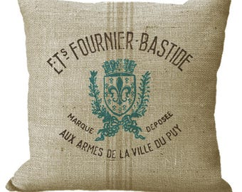 Reproduction Brown & Blue Green Grain Sack on Burlap in Choice of 14x14 16x16 18x18 20x20 22x22 24x24 inch Pillow Cover